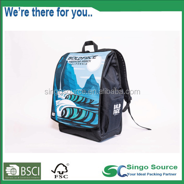 2017 newest style laptop computer backpack custom sublimation printing Daypack with removeable and exchangeable front flap