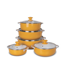 Orange Aluminum Stock Soup Heating Pot Steamer with Glass Lid