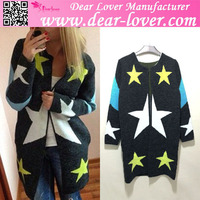 Custom design 2015 Star Pattern Zipper ladies open front cardigan