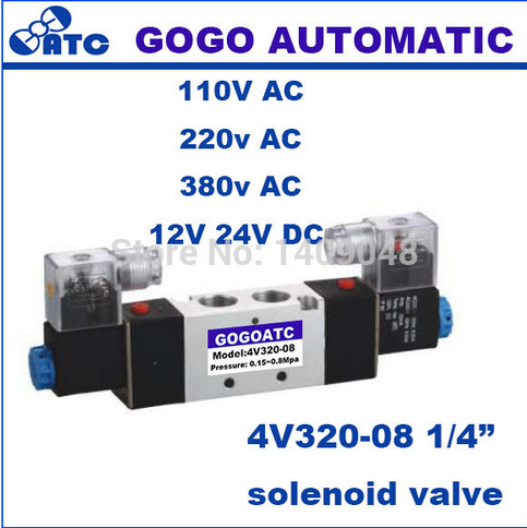 "GOGO Pneumatic air solenoid valve 4V320-<strong>08</strong> Double coil Port 1/4"" BSP 24V DC 5/2 way control valve with Plug type red LED light"