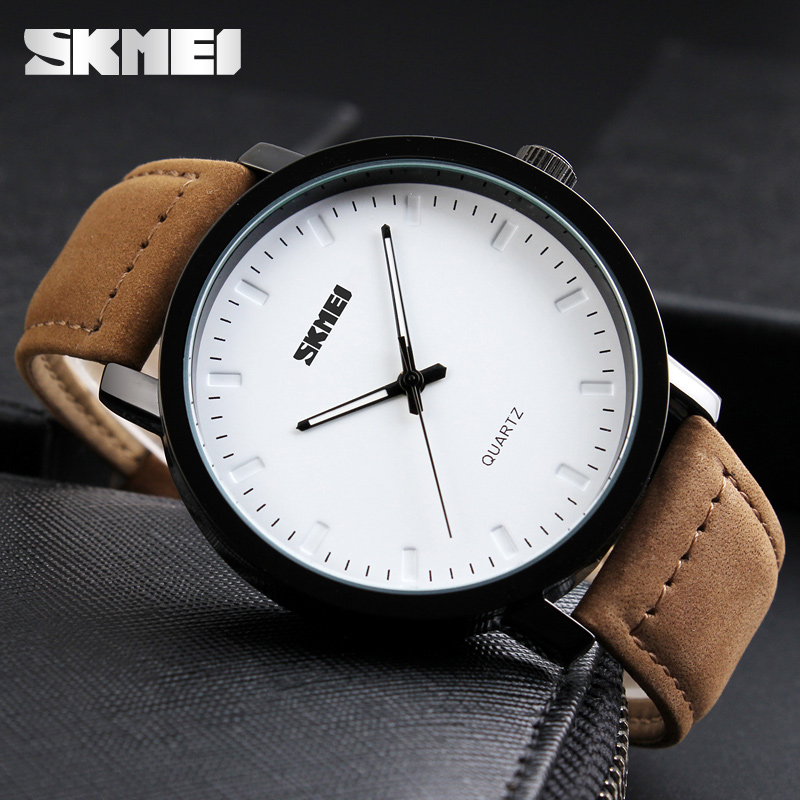 British style classic men's fashion leather watch with simple face