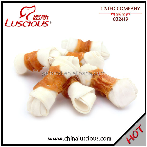 White Rawhide Knot Twined by Chicken Hard Bones for Dogs
