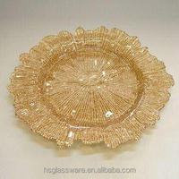 Hot Selling Newest Elegant Reef Glass Wedding Charger Plate Wholesale