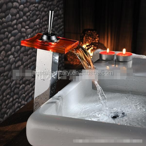 high quality deck mounted square body water energy led sink glass faucet