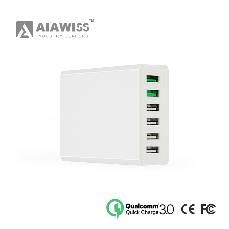 AIAWISS2016 Quick Charge Dual 3.0 6 Port USB wall Charger usb multi charger adapter with 1.5m micro cable