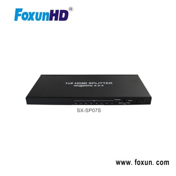 SX-SP07S Mini 1 in 8 out HDMI2.0 1x8 HDMI Splitter, HDCP2.2 Supports 3D, 4Kx2K@60Hz(YUV 4:4:4), 18G, HDR, EDID