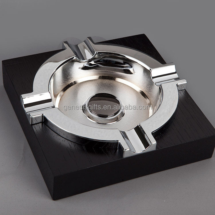 Factory Wholesale Black Super Quality High-end Ebony Wood Platform Silver Metal Cigar Ashtray Holder 4 Rests