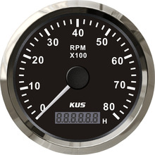 KUS 85mm Engine Tachometer Gauge With Hour <strong>meter</strong> Boat RPM Tachometer 0-8000RPM 12V/24V With Backlight
