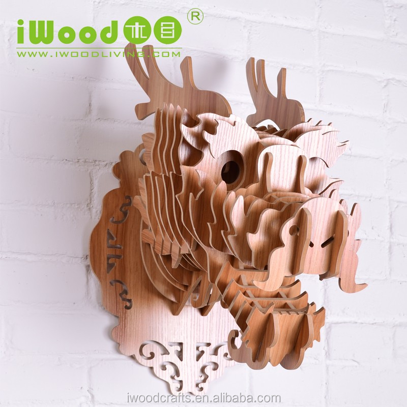 2016 new chinese no stickers home dragon art animal wooden crafts