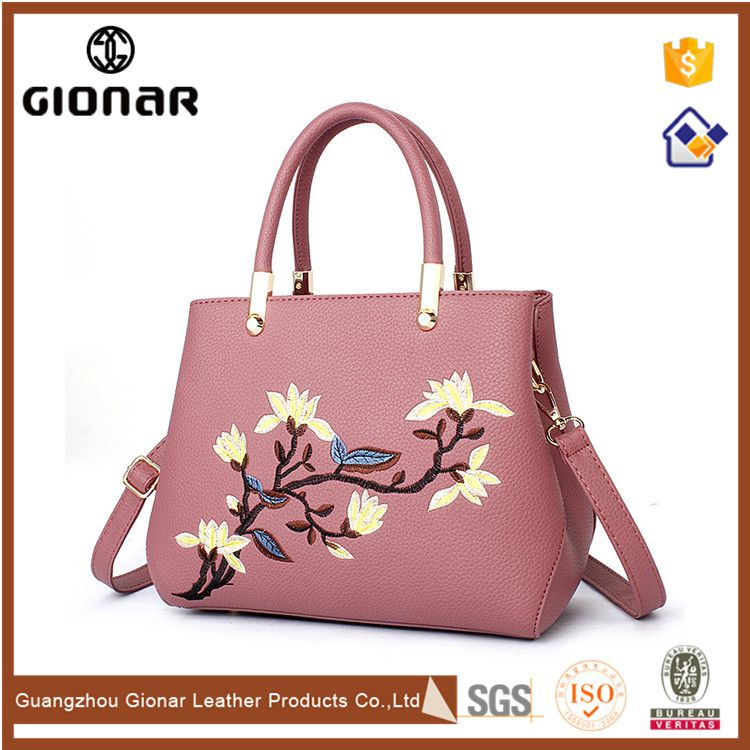 New Arrival Embroidery Flower Leather Orange Used Designer Handbags Wholesale