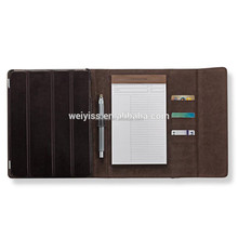 Hot Selling Custom Design Leather Folio for iPad Air 2 with Elastic Band, for iPad Mini Leather Folio Case with Notepad