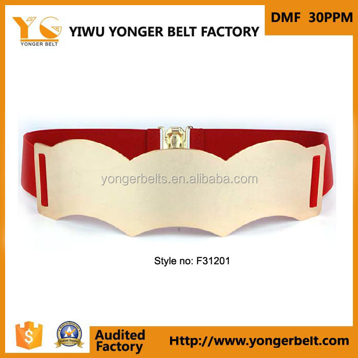 Wide Red Fashion Fancy Women Elasticated Fabric Strech Metal Belt