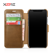 XOOMZ 2017 New Flip Leather Wallet Phone Case for iPhone X Case with 3 Credit Card Slots