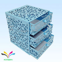 Embossing metal fancy 3 tiers file storage box for office products