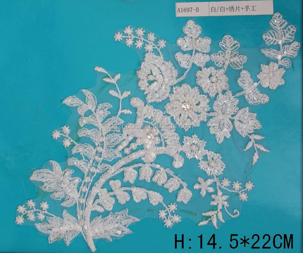 lace sequin flower machine embroidery saree designs on soft tulle