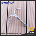2017 New products on china market three Claw 8mm Screw Nut Steel bulk fishing treble hook