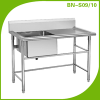 Hot sell kitchen stainless steel work table with one sink