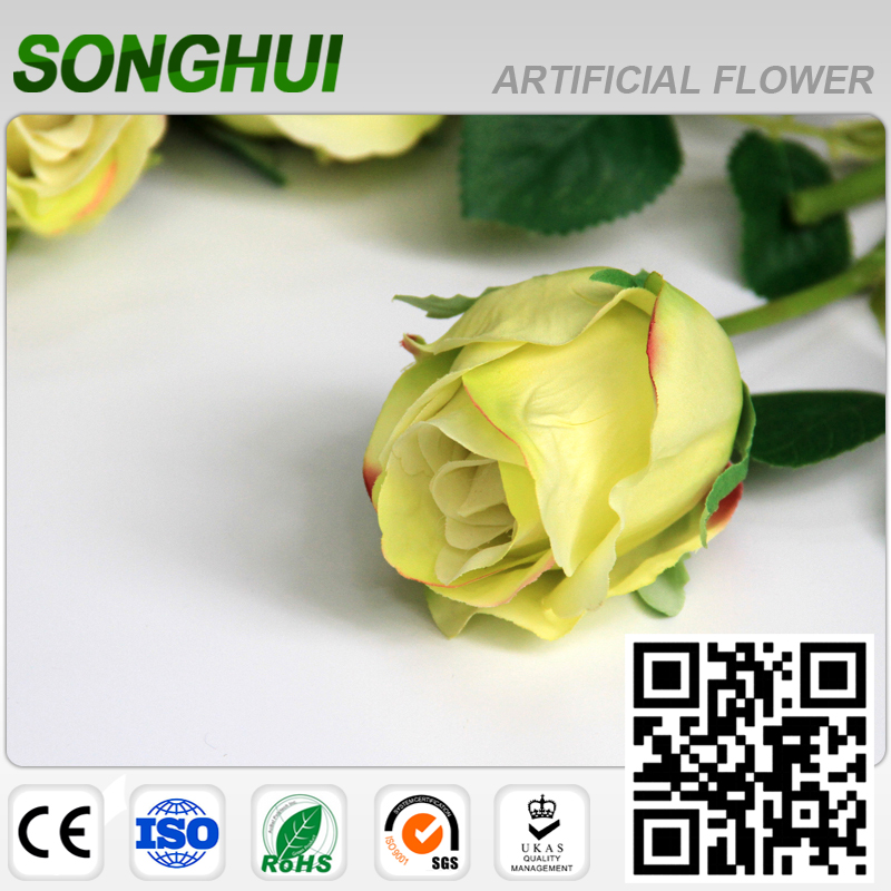 Plastic Yellow Artifical Flower Rose Bouquet For Home Hotel Decoration