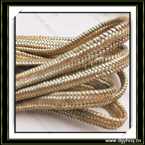 High quality braided microfiber round leather cord synthetic flat leather cord