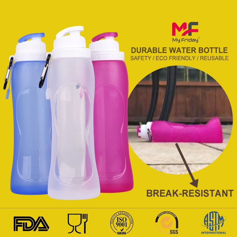 High quality bpa free silicone safety rollable personalized water bottles canada