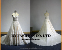 Beaded ball gown white long tail wedding gowns backless Sweatheart bridal dress lace floor length