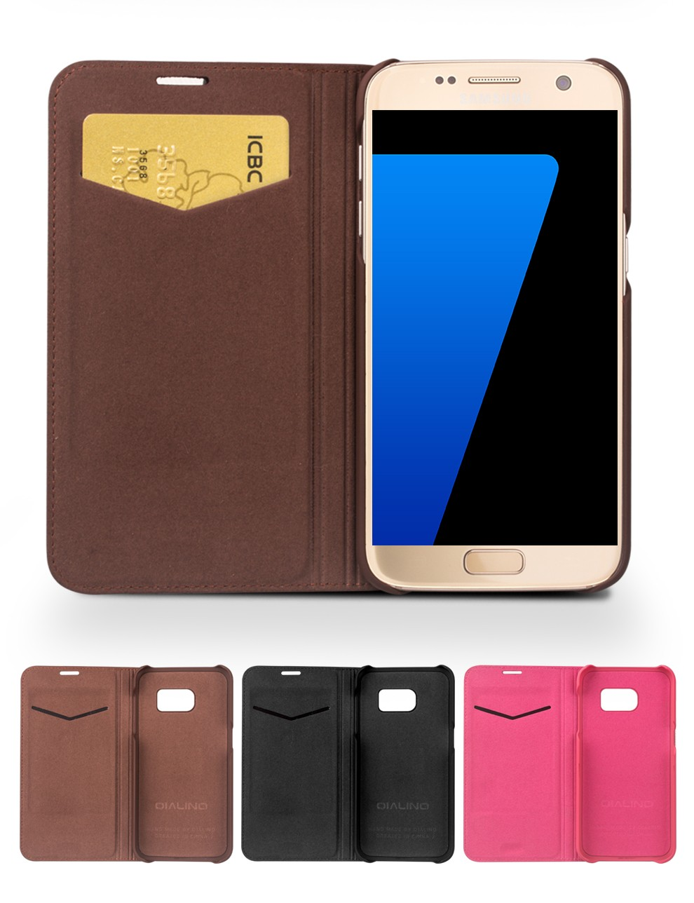 QIALINO Cell Phone Case Ultra Thin Handmade Magnetic Flip Leather Cover Case W/ Card Holder For Samsung Galaxy S7 Phone