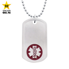 Cheap custom made stainless steel metal medical id pendants