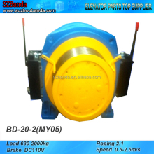 Elevator Gearless Traction Machine BD-20-2 Lift Motor