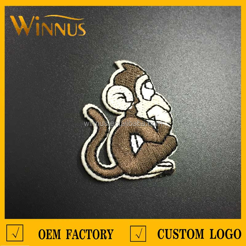 beatiful cartoon animal monkey embroidered patches