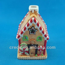 Latest hand painting ceramic candy house candle holder