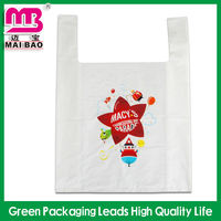 LDPE T-shirt custom printed clear plastic vest carrier food packaging bag