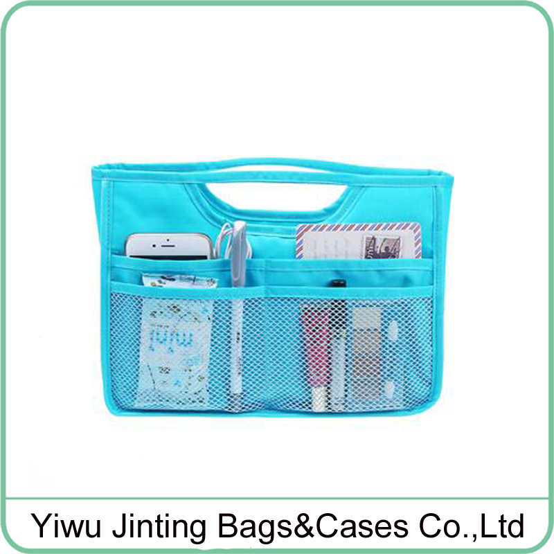 Facny nylon multi pockets nylon handbag inner bag organizer