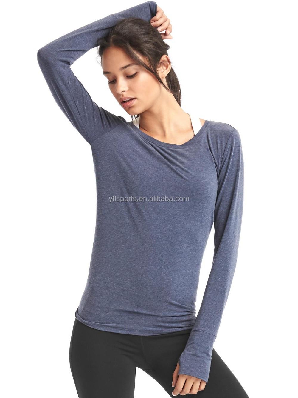 Wholesale Fashion Fitness Sports Tee Long Sleve Workout