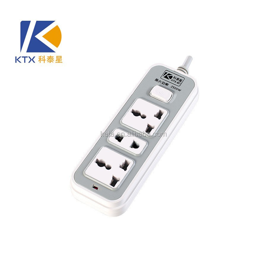 3 Pins 8 holes Universal Electrical Switch Socket Outlet with Cable