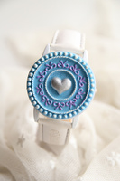 Fashion sky blue clamshell leather watch flap girls watch