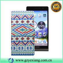 Aztec design wallet leather case for huawei ascend p6