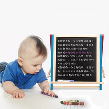 Multi Function Wooden Magnetic Turnover White Black Drawing Board for Kids