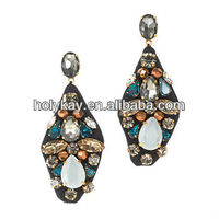 2013 trendy fashion accessory, vintage style embroidered fabric chandelier earring with mix color crystals and stones