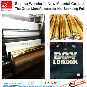 Gold color transfer hot stamping foil for T-shirt printing