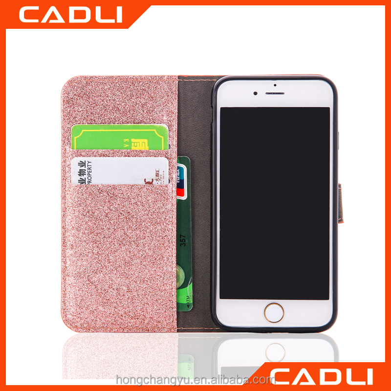 Bling Powder Shiny Leather Case For iPhone 7 7 Plus Glitter Flip Wallet Stand Phone Cover With Card Slot