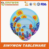 4PCS Cheap Melamine Dinnerware Plastic Food Container Wholesale Dinner Plates for Weddings