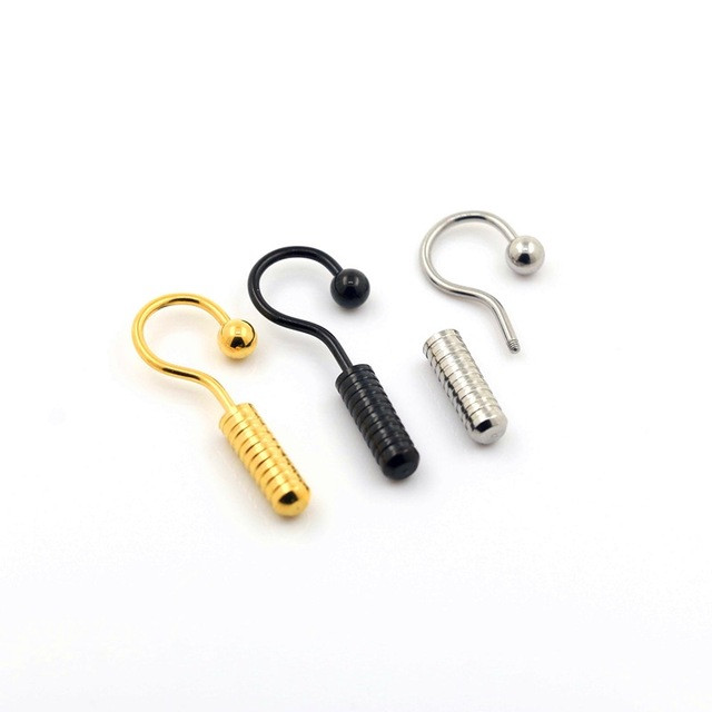 New ear piercing fake taper jewelry 16g IP gold question screw ear taper with ball