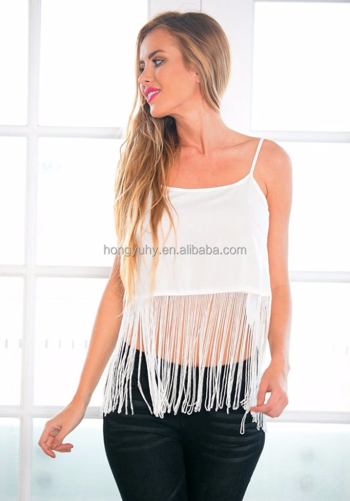 High Quality White Spaghetti Strap Flowy Fringe Tank For Best Sex Positions