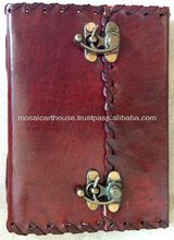 Gift Genuine Embossed Leather Hand Made Diary and Journal With Dual Locks