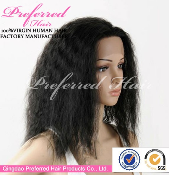 Professional chinese yaki hair glueless full lace wig with baby hair manufacturer