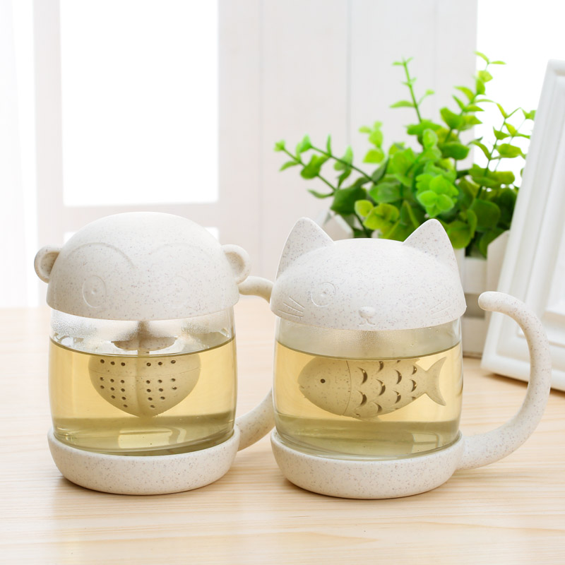 Wheat straw home cute cat personality glass cup portable female couples of make tea cup with the cup