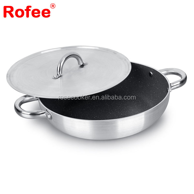 Pressed Aluminum Round Granite non-stick fry Pan with Sanding External