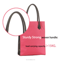 Polyester Shopping Bags with Leather Handle for Promotional Light Shopping Bag