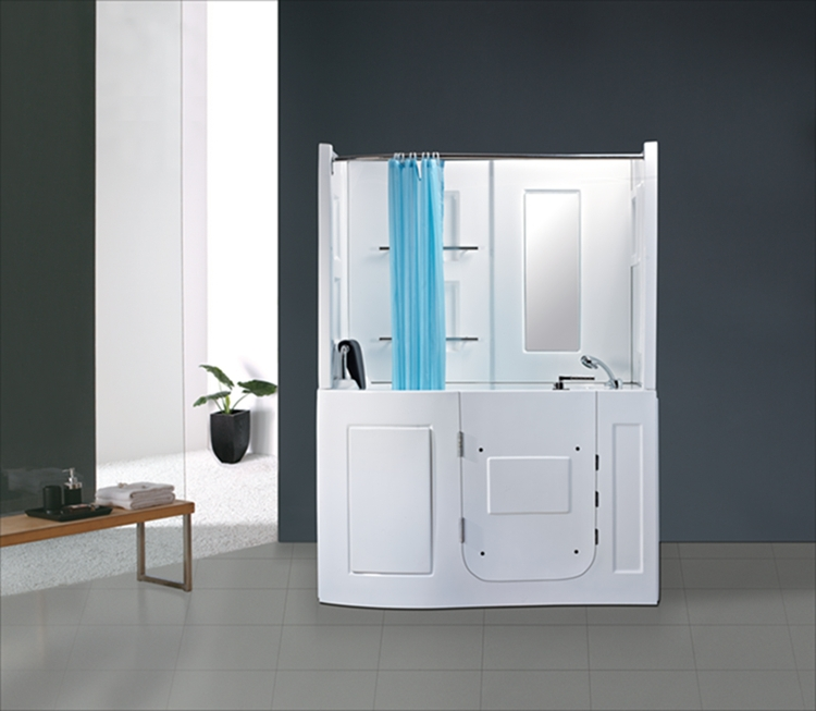 One Person Use Front Door Shower Combo With Seat Bathtub