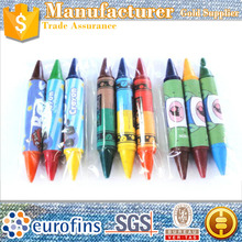 Custom 2 color double headed crayon double ended crayon double side crayons